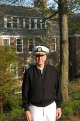 Tom Burkhard in front of Baldwin Hall